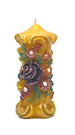 Zierkerze, mit Rose und Blumen