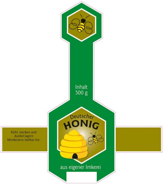 Honigglas Etikett mit Deckellasche