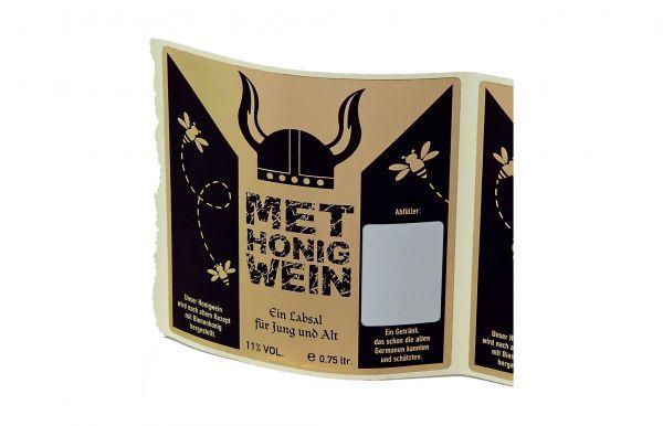 """Etikett """"MET HONIG-WEIN"""" schwarz/gold"""